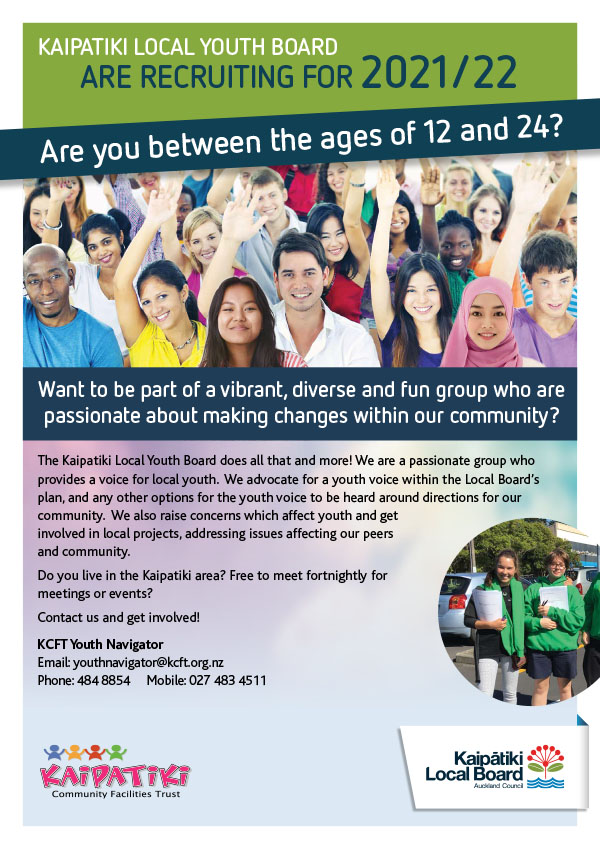 Kaipatiki Youth Board Recruit A4 Flyer Feb2021_22